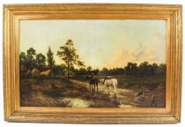 Antique Oil on Canvas Landscape Painting by G. Mallet 19th Cent 101x152cm