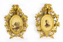 Antique Pair Gilt Wood Florentine Rococo Picture Frame C1870 19th C