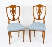 Antique Pair Victorian Satinwood Shield Back Desk Chairs 19th Century