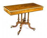 Antique Victorian Burr Walnut & Ebonised Card Table Holland & Sons 19th Century