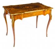 Antique French Ormolu Mounted Walnut & Marquetry Bureau Plat 19th C