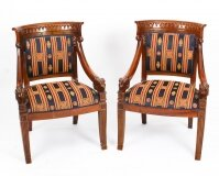 Vintage Pair Empire Revival Mahogany Armchairs 20th C