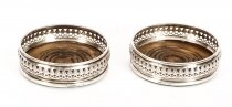 Vintage Pair Circular Sterling Silver Coasters London 20th Century