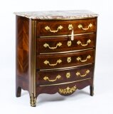 Antique Marble Topped Ormolu Mounted Goncalo Alves Commode Chest