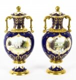 Vintage Pair Royal Crown Derby Limited Edition Vases 20th C