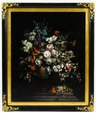 Antique Dutch School Floral Still Life Oil Painting Framed Late 19th C