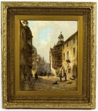 Antique Oil Painting Koblenz Street Scene Jane Vivian 19th C