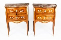 Antique Pair French Marquetry Petit Commodes Bedside Chests 19th C