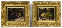 Antique Pair Still Life of Fruit W.D.Hobdey 19th Century