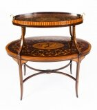 Antique English Marquetry Etagere Tray Table 19th C
