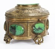 Antique Malachite & Gilt Bronze Lidded Jewellery Casket 19th C C1880