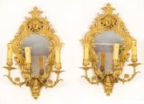 Antique Pair Ormolu 3 light Girandoles Wall lights 19th Century