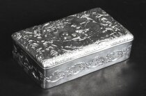 Antique Edwardian Sterling Silver Jewellery Box Casket H. Matthews 1901