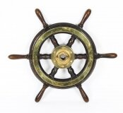 Antique 56cm Teak and Brass Set 6 Spoke Ships Wheel C 1870 19th Century