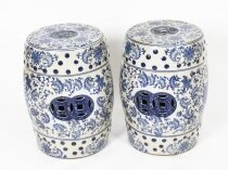 Vintage Pair Japanese Blue & White Ceramic Garden Seats 20th Century