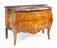 Antique French Louis XV Revival Marquetry Commode Chest 19th Century
