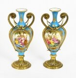Antique Pair French Ormolu Mounted Bleu Celeste Sevres Vases 19th C