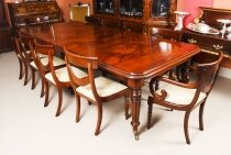 Vintage English Regency Revival Dining Table & 10 Chairs 20th C