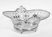 Antique English Edward VII Sterling Silver Fruit Bread Basket London 1909