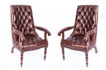 Bespoke Pair English Handmade Carlton Leather Desk Chairs Hazel