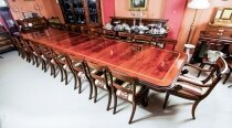 Bespoke Regency Revival Triple Pedestal Dining Table & 22 chairs 21st C