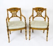 Antique Pair Sheraton Revival Painted Satinwood Armchairs Circa 1920