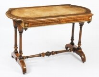 Antique Victorian Burr Walnut Writing Table Desk 19th C
