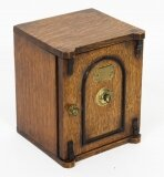 Antique Victorian Oak Novelty Cigar Humidor Box C1870