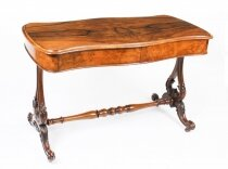 Antique Victorian Figured Walnut Writing Table Desk Sofa Table 19th C
