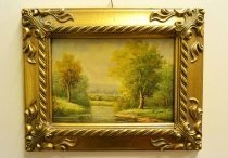 P0308-Oil-Painting-Countryside-Walk-Giltwood-Frame