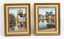 Pair Vintage Spanish Oil on Canvas Paintings Mid 20th Century