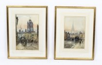Antique Pair of Water Colours by Herbert Menzies Marshal Dated 1866