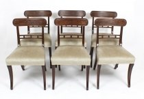 Antique Set of 6 Regency Mahogany Dining Chairs c1820 19th C