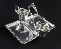 Antique Victorian Sugar & Cream Set with serving tray, 19th Century