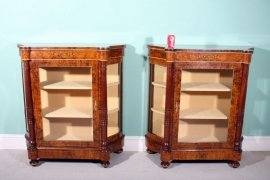 01411-Pair-Victorian-Burr-Walnut-Inlaid-Display-Cabinets-12