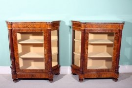 01411-Pair-Victorian-Burr-Walnut-Inlaid-Display-Cabinets-2