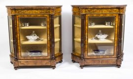 01411-Pair-of-Burr-Walnut-Display-Cabinets-Victorian-Style-1