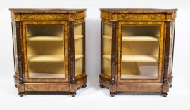 01411-Pair-of-Burr-Walnut-Display-Cabinets-Victorian-Style-2