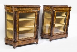 01411-Pair-of-Burr-Walnut-Display-Cabinets-Victorian-Style-3