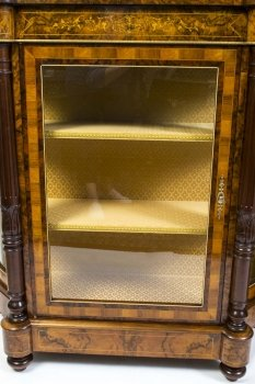 01411-Pair-of-Burr-Walnut-Display-Cabinets-Victorian-Style-7