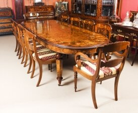 Stunning Bespoke Handmade Burr Walnut Marquetry Dining Table & 10 Chairs