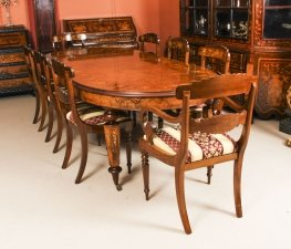 Stunning Bespoke Handmade Burr Walnut Marquetry Dining Table & 8 Chairs