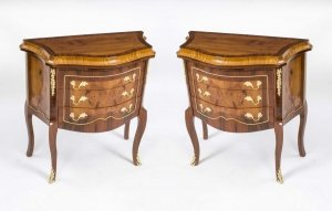 Pair Milanese Walnut & Rosewood Commodes Drawers