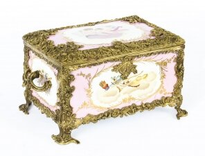 Vintage Large Russian Revival Rose Pink Porcelain Jewellery Casket 20th C