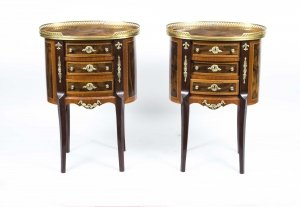 Pair French Louis XV Mahogany Walnut Bedside Cabinets
