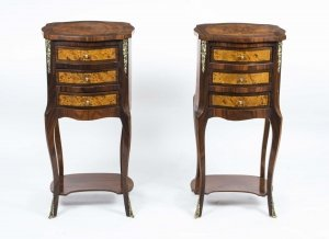 Superb Pair Louis XV Walnut Ormolu Bedside Cabinets