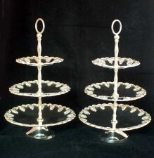 Vintage Pair Silver Plated Tiered Cake Biscuit Stands 20th C