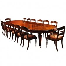 Bespoke Handmade Marquetry Burr Walnut Dining Table & 14 Chairs