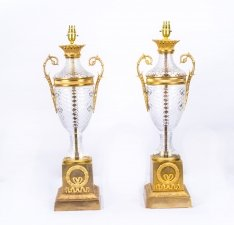 Pair Fine Cut Glass & Ormolu Empire Style Lamps Wired