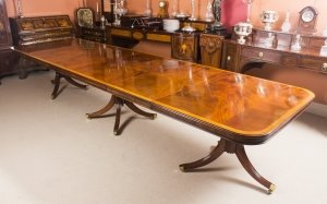 Bespoke 14ft Regency Style Dining Table Inlaid Flame Mahogany